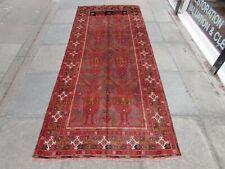 Vintage Hand Made Traditional Rugs Oriental Wool Grey Black Large Rug 285x117cm