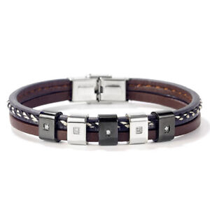 Punk Men's Braided Leather Stainless Steel Bracelet Magnetic Zircon Rope Wrist