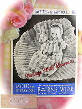 Vintage 1940s Toy Knitting Pattern. 12 Inch Dolls Layette Shawl Dress Etc.