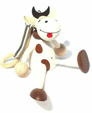 HANDMADE WOODEN BOUNCY PUPPET CALF SPRINGY DECORATION TOY MOBILE
