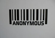 2 x ANONYMOUS Barcode vinyl Stickers / Decals for Cars or Bikes  16 colours