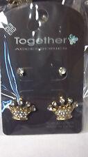 1 Pair Fashion Princess CROWN Post Earrings Rhinestone Gold Silver Tone
