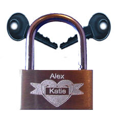 ENGRAVED Love Locks 2 Names or Date 8 Designs Lock it to your Special Place
