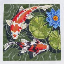 SP.ORDER~ Labors of Love LG. Oriental Koi Goldfish Pond #1 HP Needlepoint Canvas