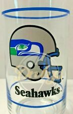 Seattle Seahawks Mobil NFL Glass Drinking Cup Vintage 1980's Made USA