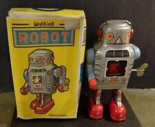 Vintage Tin Wind-up Walking Sparking Robot In Original Box Toy