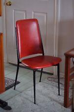 Genuine Vintage Red Mid Century Metal Framed Chair, Slim Legs, Rare, VGC, MCM