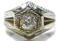 VICTORIAN NOUVEAU 14K WHITE GOLD .45CT EUROPEAN DIAMOND MENS WOMENS RING SIZE 8