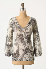 NWT Woodland Haze Top Gray Fern Leaf V-Neck Sweater Work Blouse By Guinevere, S