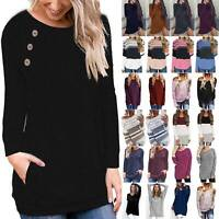 Women Long Sleeve Blouse T Shirts Pullover Jumper Oversize Casual Sweater Tops