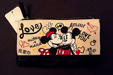 Disney Store Mickey Minnie Mouse Canvas Make-Up Bag I Love Mickey Collection Nwt
