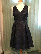 BNWT - Lipsy Navy Lurex Lace Skater Dress  - Size 12 -Xmas Party Wedding Evening