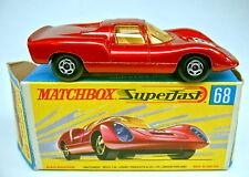 """Matchbox SF Nr.68A Porsche 910 rotmetallic in früher """"H"""" Box"""