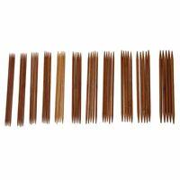 1X(5 Sets von 11 Groessen 5 '' (13cm) Doppelspitz Karbonisierte Bambus Strick 2A