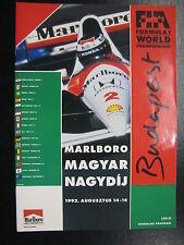 Program Marlboro Magyar Nagydíj 1992 14-16 Augusztus Budapest Hungaroring (PBE)