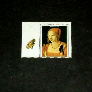ECUADOR, #763b, 1967, ART, VENETIAN WOMAN BY DURER, TAB SINGLE, MNH,LQQK
