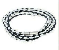 NEW HARLEQUIN Black + White Design Thin Strands Leather Wristband
