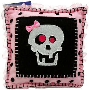 """Groovy Holidays 6"""" Pink Skull Tooth Fairy Pillow Reusable"""