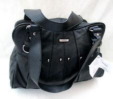 LEATHER COWHIDE BLACK SHOULDER BAG/ STUDS FLIGHT BAG/HOLIDAYS /TRAVEL BAG 3732