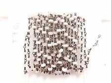 10 Feet Rose Quartz Pearl Stone Rosary Beaded Oxidized Wire Wrapped Chain CH-54