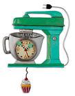 MICHELLE ALLEN Designs WALL CLOCK Decor GREEN CAKE MIXER Swing Pendulum CUPCAKE
