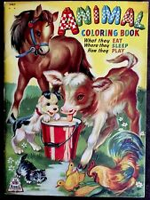 ANIMAL COLORING BOOK ~ Vintage Oversized Merrill Children's 1944 Coloring Book