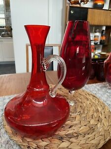 Decanter Ruby Jug Red Brandy Balloon Vintage Retro Home Kitchen Bar Can Post