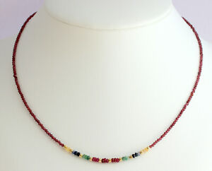 Garnet Chain With Ruby Sapphire Emerald And Plated 925 Silver Necklace ca.45 CM