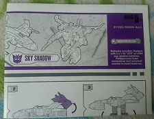 Transformers CYBERTRON SKY SHADOW INSTRUCTION BOOKLET