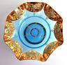 Vintage Lg Blue Glass Fluted Pedestal Bowl Handpainted Gold Floral Blown Glass