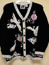 Storybook Knits Cardigan Sweater Black & White Embellished Cranes & Clouds