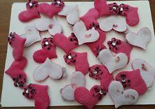 10 Rosa Corazón De Tela Acolchada Adornos Peludo Fieltro Flatback flor Gem Stone