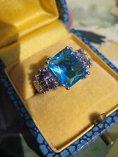 Extravaganter Ring  925 ART DECO schräg gefasster Blautopas ?+  Amethyst ? 17 mm