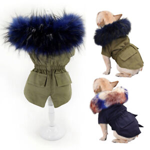 Dogs Coats for Winter with Hoody Luxury Faux Fur Collar Small Dog Clothes Jacket