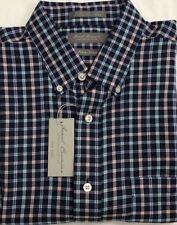 New Daniel Cremieux Casual Short Sleeve Shirt Rich Blue Plaids Size L $17.50