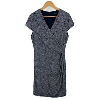 Diana Ferrari Exclusive Print Dress Size 14 Short Sleeve V-Neck Zip Closure