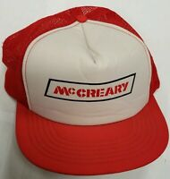 Vintage McCreary Tires TRUCKER MESH Snapback Trucker Cap Hat Red White