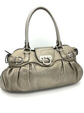 Salvatore Ferragamo Gancini Silver Bronze Leather Shoulder Hand Women Bag