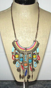 Vintage Boho Tribal Bead Coin Dangle Statement Necklace