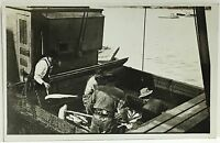 RPPC Real Photo Postcard ~ Men At Work On Commercial Fishing Boat ~ Occupation