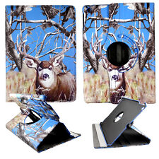CAMO BLUE DEER  FOLIO CASE IPAD AIR 5 IPAD 5 360 ROTATING STAND TABLET COVER