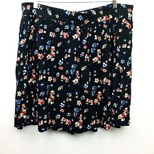 Asos Womens Curve Skirt Black Floral Pleated Zipper Flowy Sexy Light Size 16