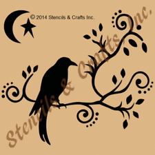 CROW RAVEN STENCIL SCROLL BRANCHES TEMPLATES MOON STAR STENCILS TEMPLATE NEW