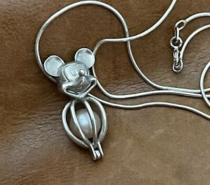 """Sterling Mickey Mouse Pearl Cage Charm Epcot Locket Hidden Pendant Necklace 18"""""""