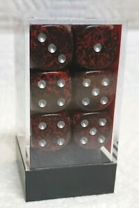 Dice - Chx 16mm Speckled Silver Volcano w/Silver Pips - 12/Box - Let 'em flow!