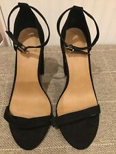Ladies ASOS Black Faux Suede Strappy Heels Sandals Shoes Size 7 EU 41 Chunky