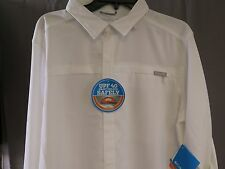 NWT Columbia Meadowgate OMNI-SHADE UPF 40 Long Sleeve Shirt color White Size M