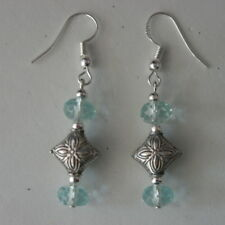 Beautiful Silver Earrings With Faceted Aquamarine 3.9 Gr.3.2 Cm. Long + Hook