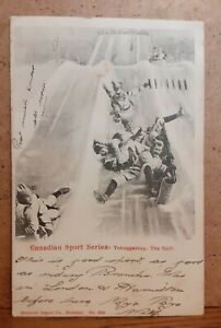 1904 Sporting Scene Postcard - Canadian Sport Series Tobogganing The Spill