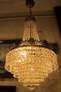 Antique Vnt. French Basket style swarovski Crystal Chandelier Lamp Light 1940's.